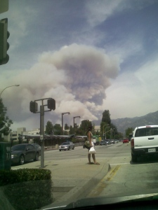Wildfire burning in La Canada Flintridge, north of Pasadena