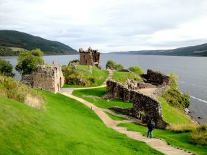 Urquhart Castle, on the banks of Loch Ness